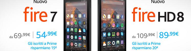 Amazon Fire 7 e Fire HD 8 ora hanno un hardware più potente ed un prezzo più basso