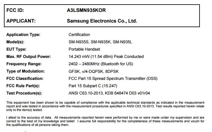 Galaxy Note7R riceve la certificazione FCC