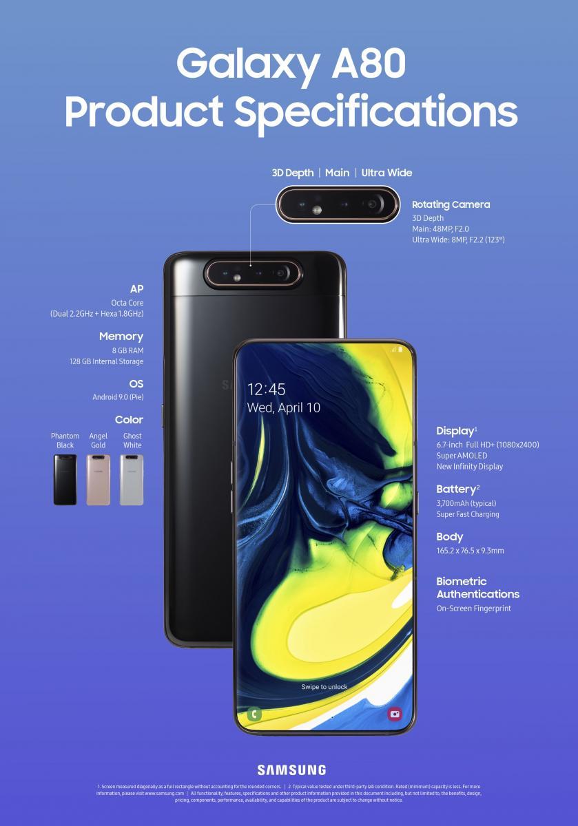 Samsung Galaxy A80 caratteristiche